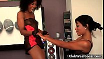 Hot and horny black babes are stripping