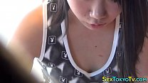 Teen asian rides cucumber