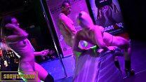 Blonde and redhead public threesome on stage Thumbnail