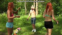 Dirty-minded babes enjoy champagne and college DP scene 3
