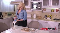 Stud fucks voracious blondie Katy Jayne's tasty pink on the kitchen counter GP284