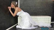 Bride rides gloryhole toy