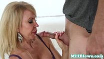 Busty mature in lingerie sucking veiny cock Thumbnail