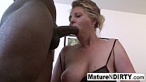 Dirty mature in lingerie can't get enough interracial sex