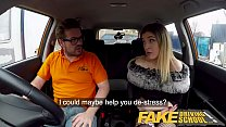 Fake Driving School Petite learner with small tits eats instructors cum Image