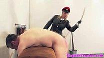 Femdom punishing sub with a rough spank