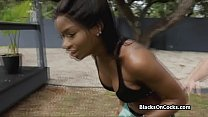 Busty fit black beauty gags on white cock ~ nice orgasm thumbnail