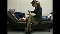 Lady boss masturbates her lazy employee to ignite him to work preview image