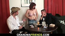 Hairy redhead granny double fucked after poker game