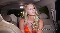 Blonde college hitchhiker bangs outdoor video