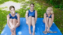 Teen gymnasts sharing trainers dick in foursome صورة