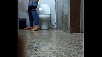 Hot Busty Brunette Spied in Toilet صورة