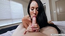 Stepson is super turned on by his smoking hot stepmom and lets her grab his cock and blow him hard thumbnail