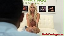 Tattooed teenie hardfucked at audition