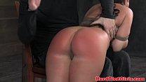 Ball gag brunette bent over and spanked Thumbnail