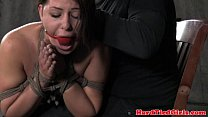 ball gag brunette bent over and spanked - touching dick thumbnail
