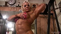 Naked Pro Female Bodybuilder Plays with Her Big...
