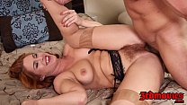 natural redhead tugs her hairy pussy preview image