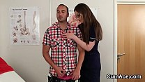 Wicked stunner gets cumshot on her face eating all the jizm porn thumbnail
