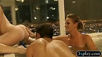 Sexy babe and horny men had foursome session in the tub preview image