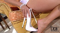 Eva Parcker Tempts In A Skimpy White Teddy & 7-inch Pumps