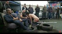 Brutal autoservice gay group sex