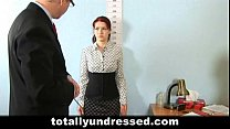 Shocking nude job interview for redhead babe