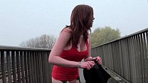 Milf amateur redhead Holly flashing and getting...