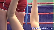 Tattooed babes wrestling in a boxing ring