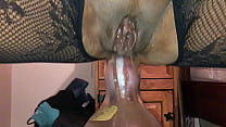 Homemade Girlfriend a Dirty British Milf - POV Filming Closeup on My iPhone, Squatting on a Huge Bottle Deep up Her Dirty Ass Hole - II