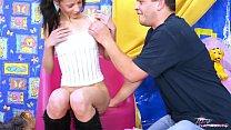 6382 Super ultra skinny brunette teen spread legs to older dude preview