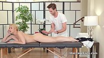 Horny housewife gags and rides lucky masseur