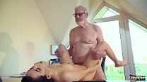 Cute Teen Fucked by Big Cock Grandpa Cums in her mouth with cumplay صورة