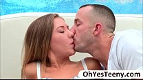 Teen babe Alison Faye gets banged by a huge cock and facialized thumbnail
