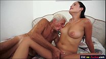 Dolly Diore sucks off  a grandpas cock and sits... thumb