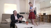 Tricky Old Teacher - Hottie passes a sex test on the couch Thumbnail