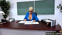 Huge tits latina teacher jerks and fucks a student
