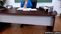 Huge tits latina teacher jerks and fucks a student