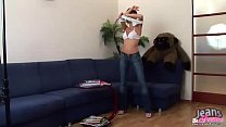 Let me pull down my tight jeans and show you my panties ◦ shemale self facial thumbnail