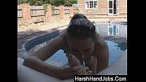 Angry topless girlfriend gives a harsh handjob