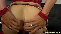 Busty shemale pornstar dildoing her ass