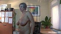Mature slut gets cum on her huge tits preview image