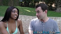 Ebony teen gobbles cock preview image
