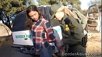 Young Latina crossed the border to make 3some with officers video