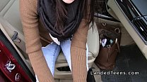 Beautiful Euro amateur teen bangs in car in public Vorschaubild