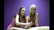 Two Jerky Girls Playfully Masturbate A Lucky Man's Cock
