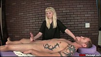 Blonde Bitch Ties Up His Boner And Dominates Him With A Handjob