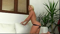 Hot blonde fucked by fake agent on sofa preview image