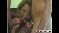 [red prono] ⁃ Amateur girlfriend homemade threesome with facial thumbnail