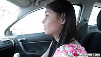 Katya Rodriguez gave stepbro a blowjob in a car